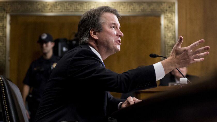 Supreme Court nominee Judge Brett Kavanaugh testifies during the Senate Judiciary Committee on Thursday.