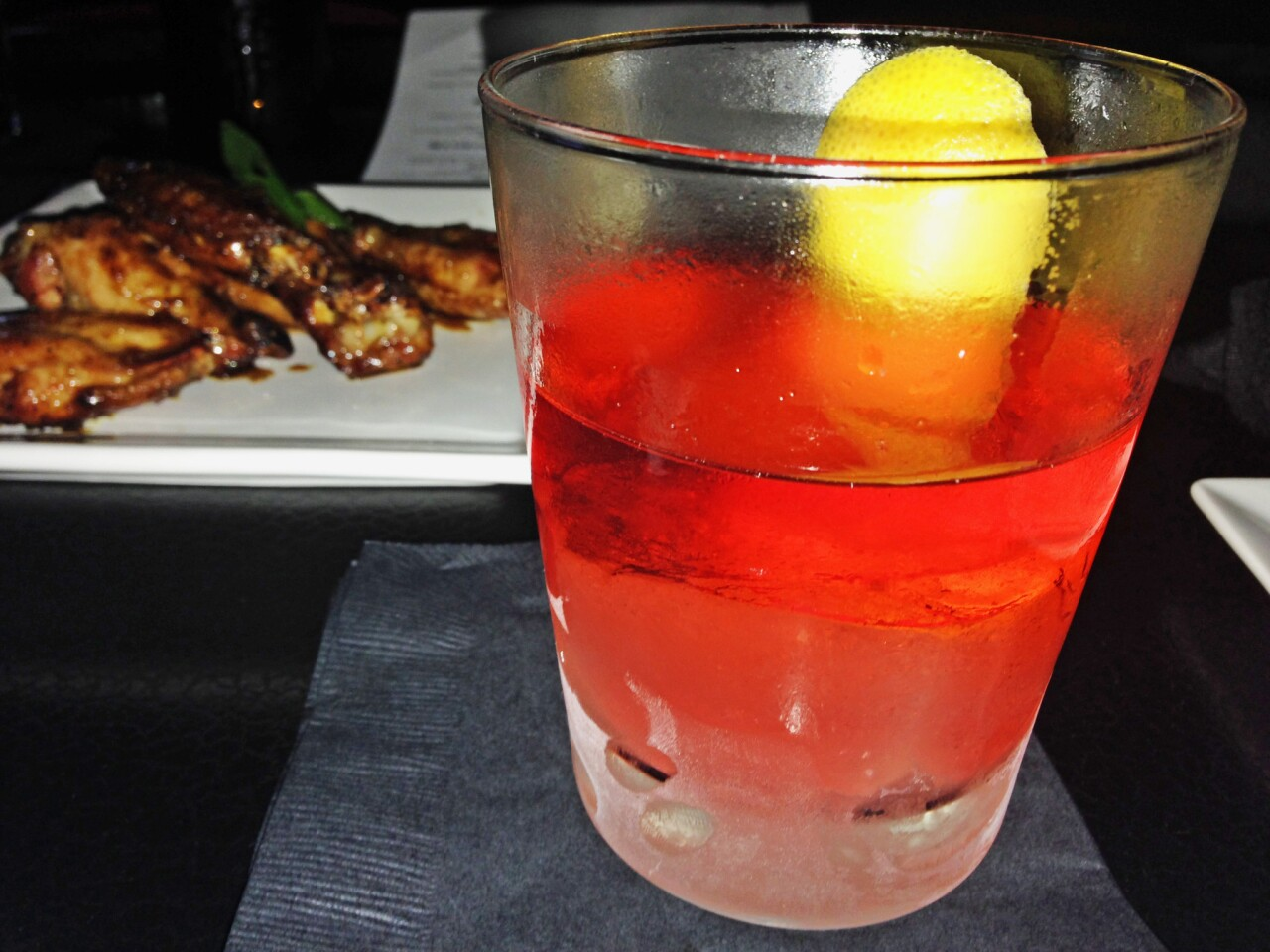 The Little Fatso, made with rye whiskey, dry vermouth, Campari and pamplemousse.