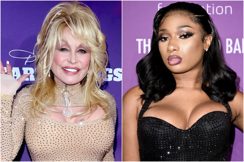 Side-by-side images of Dolly Parton and Megan Thee Stallion