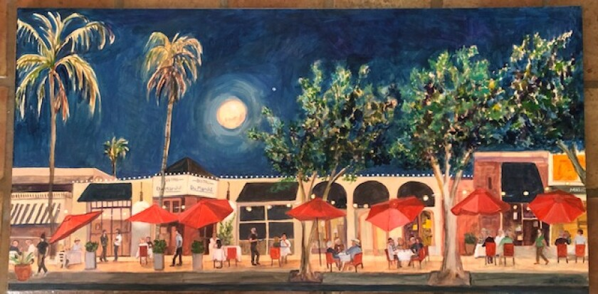 Paula McColl painted this scene of the outdoor dining that sprung up outside Bistrot du Marché.
