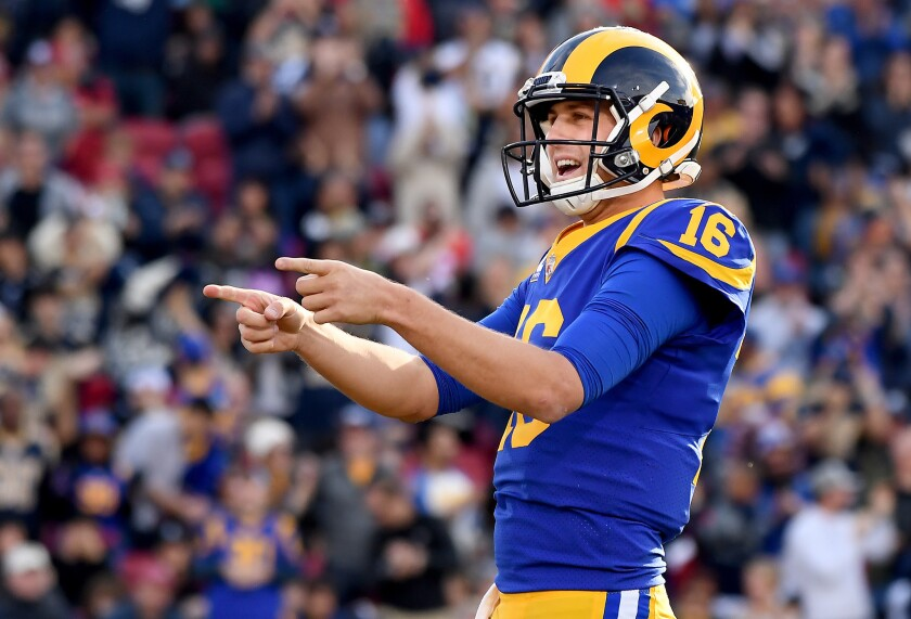 Jared Goff of the Rams will be one half of a dynamic duo of young quarterbacks when Dak Prescott and the Dallas Cowboys visit the Coliseum on Saturday for an NFC playoff game.