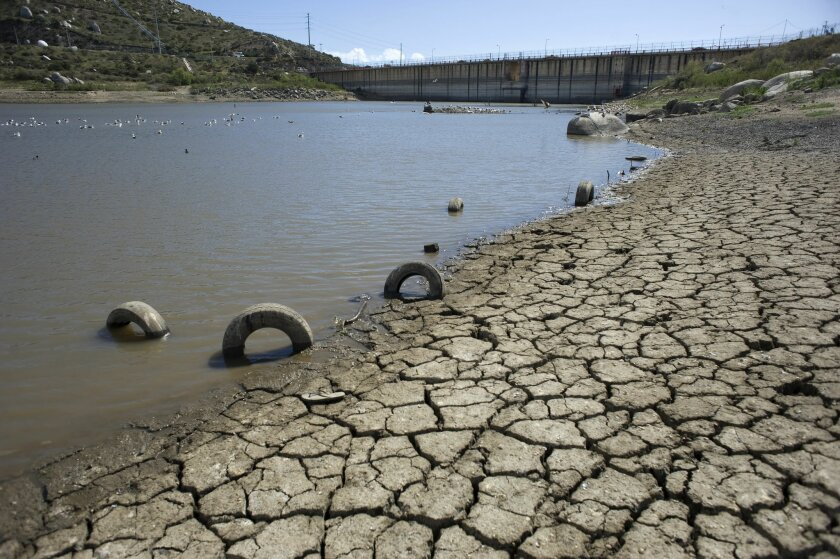 The low water levels at Emilio López Zamora Dam, seen earlier this year, contributed to a water crisis in Ensenada.