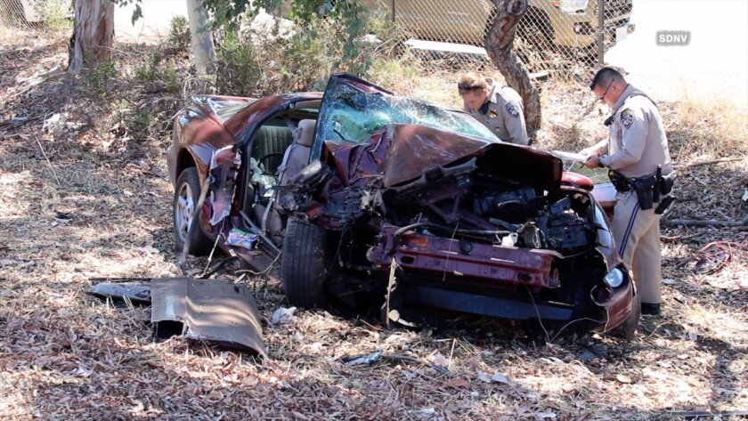 The driver of this car died Tuesday, Aug. 13, in a one-car rollover crash off SR-78 near the Vista-San Marcos line. He was later identified as 85-year-old Robert Allen Gregor of San Marcos.