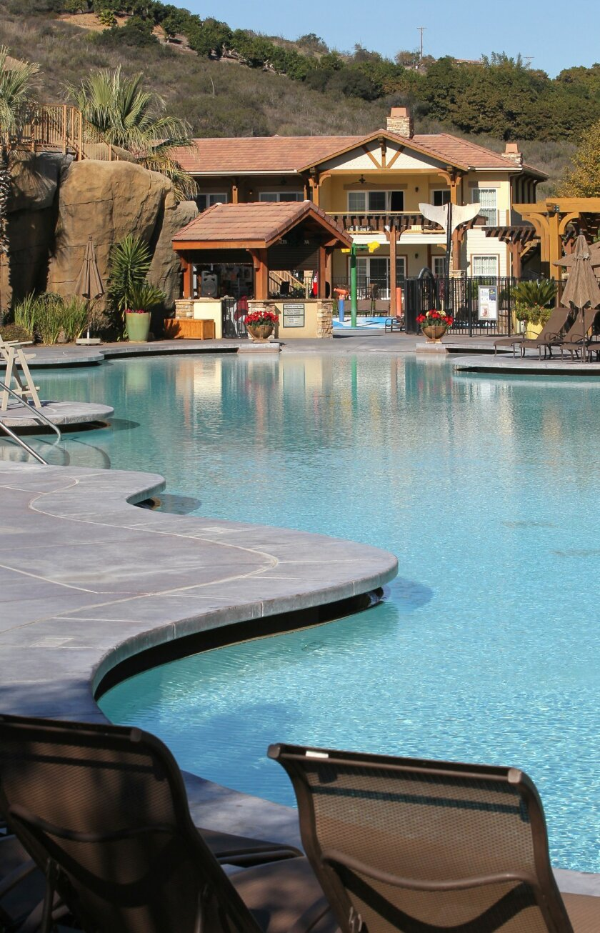 One of the swimming pools near the timeshare sales center at the Welk Resort.