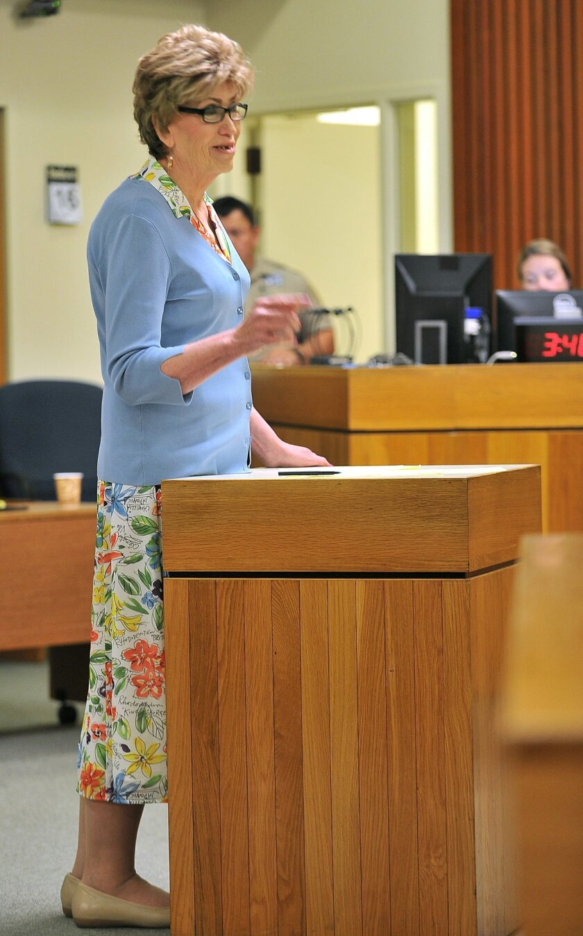 Susan Monica speaks during her double murder trial at Jackson County Circuit Court in Medford, Ore., Tuesday, April 15, 2015. Monica is charged with killing two handymen and feeding their corpses to her pigs. (Jamie Lusch/Mail Tribune via AP)
