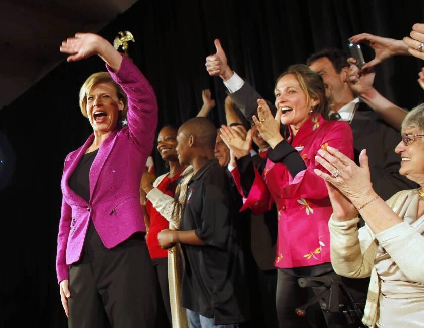 Tammy Baldwin celebrates her victory in the Wisconsin race for U.S. Senate.