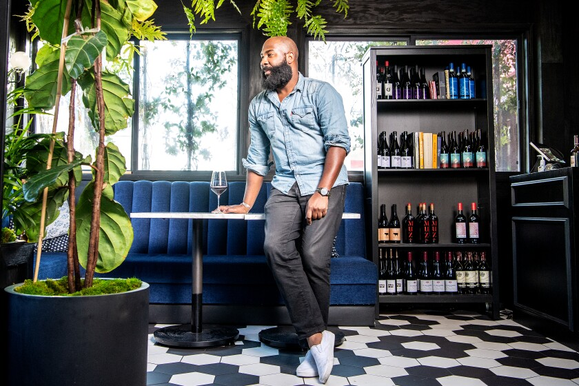 Sommelier Rick Arline at Fellow Traveler natural wine shop in West Hollywood.