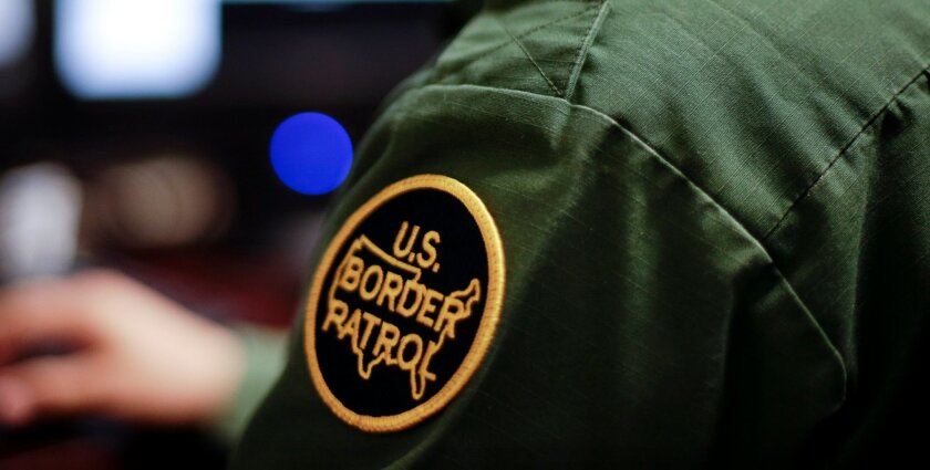 Border Patrol agent at work checking people entering the country.
