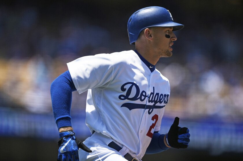 Dodgers outfielder Trayce Thompson runs the bases after hitting a home run during the second inning on July 3.
