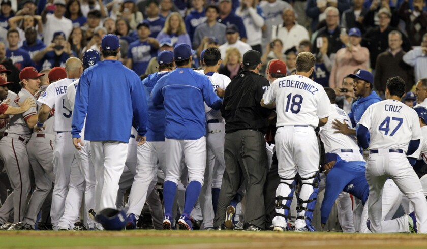 Benches emptied after former Dodgers starting pitcher Zack Greinke was hit by an Arizona Diamondback pitch in the seventh inning on June 11, 2013.