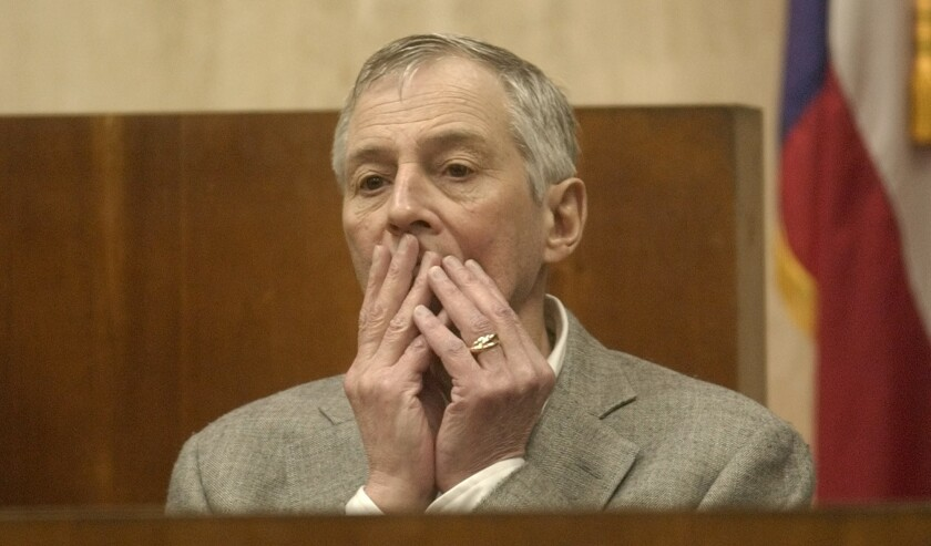 Multimillionaire murder defendant Robert Durst pauses during testimony at his trial in Galveston, Texas. He was found not guilty of murdering a neighbor at a low-rent Galveston apartment house where they both lived.