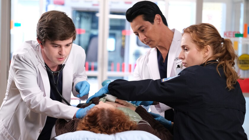 "Freddie Highmore, left, Will Yun Lee and Kayla Deorksen in ""The Good Doctor"" on ABC."