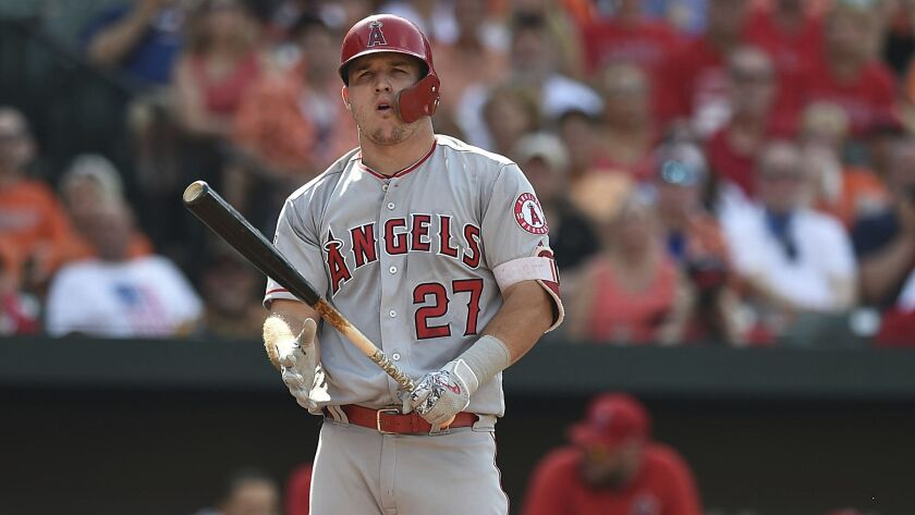 Los Angeles Angels Mike Trout reacts at bat against the Baltimore Orioles in a baseball game, Saturd