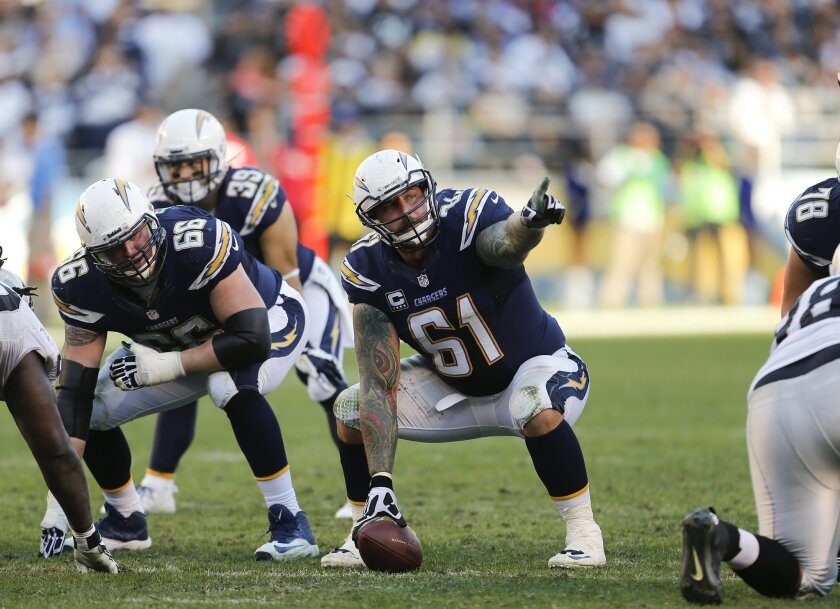 Chargers center Nick Hardwick calls out assignments as the San Diego Chargers played the Oakland Raiders Sunday afternoon at Qualcomm Stadium.