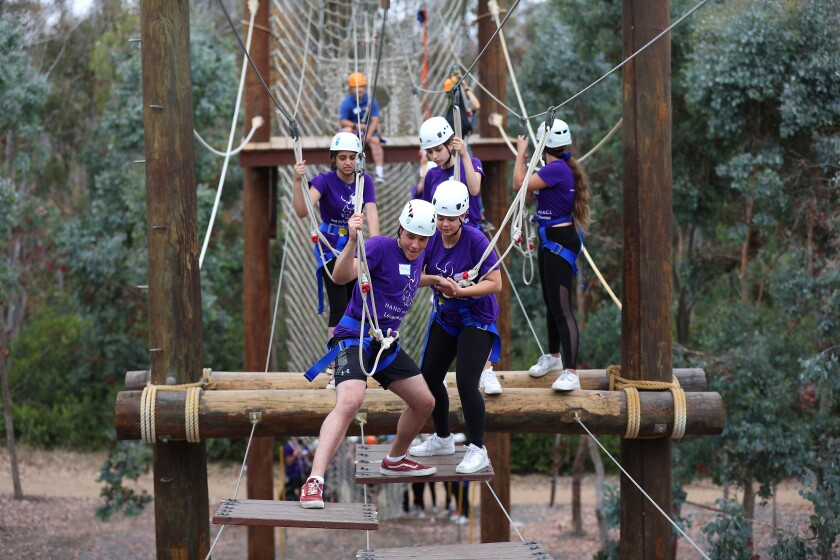 Israeli, Palestinian and American teens work together during a team-building event on the Challenge Course Park at UC San Diego during the annual three-week Hands of Peace summit on Sunday