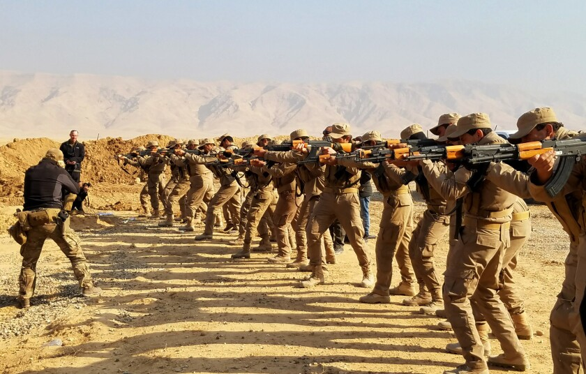U.S. and coalition special forces started training new recruits for Hashd al Shaabi militias this month at a facility about 55 miles south of Mosul.