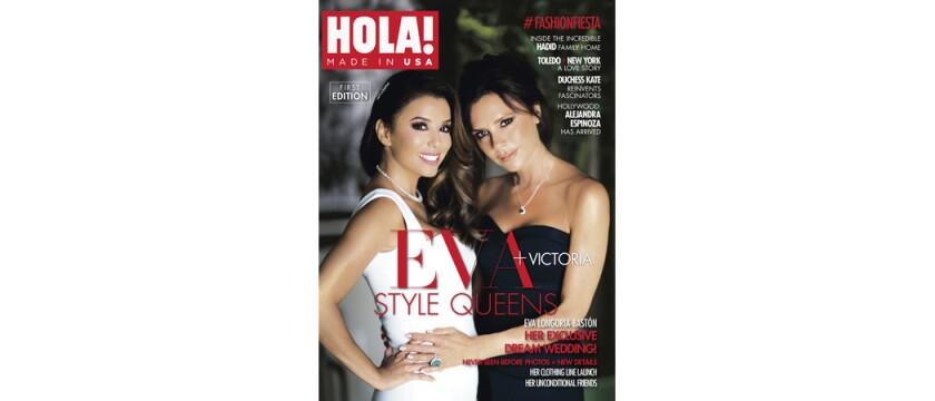 En esta imagen difundida por Bridger Communications, Eva Longoria, a la izquierda, y Victoria Beckham agracian la portada de la revista HOLA! USA, que debutó el martes 16 de agosto del 2016 en Estados Unidos, con ediciones en español e inglés. (Bridger Communications vía AP)