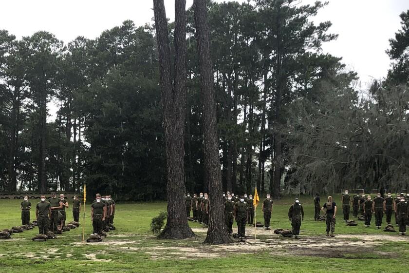 Marine recruits line up at Parris Island Recruit Depot in South Carolina.