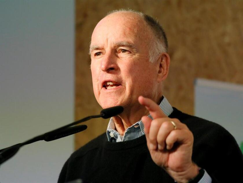California Governor Jerry Brown speaks during a discussion at the German pavilion during the UN Climate Change Conference COP23 in Bonn, Germany, 14 November 2017. EFE/EPA