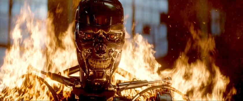 """A Series T-800 robot cuts a menacing figure in """"Terminator Genisys."""""""