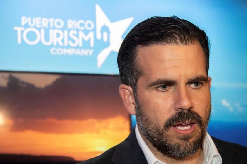 El gobernador de Puerto Rico, Ricardo Rosselló, durante una conferencia con medios de comunicación. EFE/Archivo
