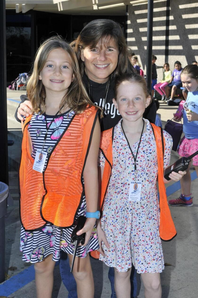 """Del Mar Hills Academy Principal Julie Lerner and the """"Principals of the Day"""" Carrie K. and Livvi H."""