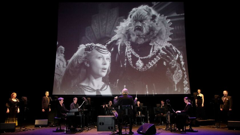 "Los Angeles Opera presented Philip Glass' music to the Jean Cocteau film ""La Belle et la Bête"" at the Theatre at Ace Hotel on Sunday."