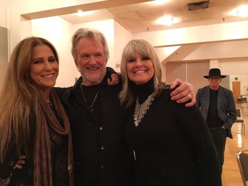 Rita Coolidge, left, with Kris Kristofferson and Connie Nelson, get together after Kristofferson's concert here Oct. 31. Ingrid Croce, who was also there, posted the photo on Facebook.