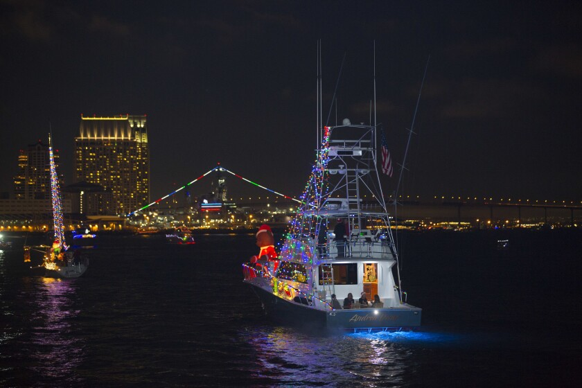 The annual San Diego Bay Parade of Lights, scheduled for Dec. 13 and 20 this year, has been canceled due to COVID-19.