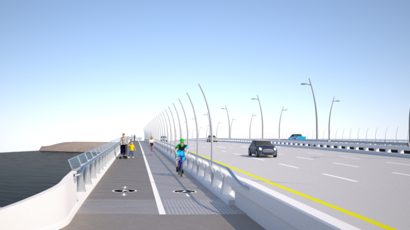A rendering depicts bike and pedestrian lanes on the new West Mission Bay Drive bridge.
