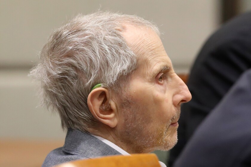 Robert Durst sits for opening statements in his murder trial in Los Angeles.