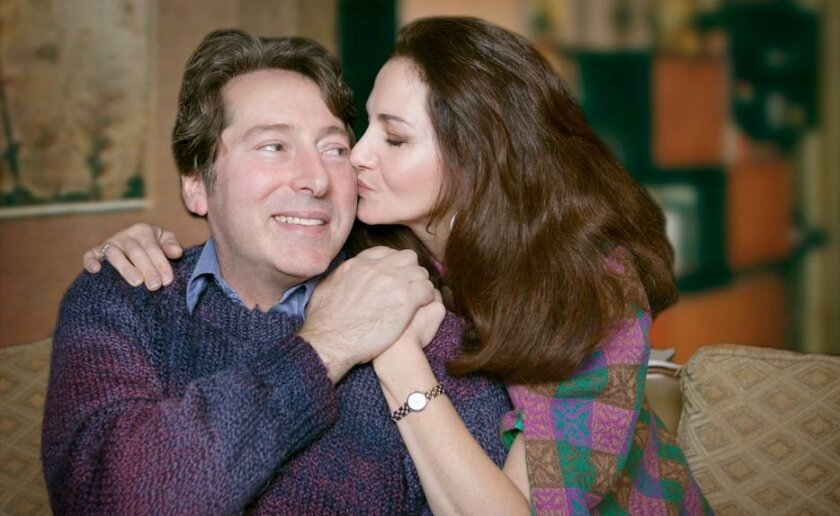 David Ellenstein (as George Schneider) and Jackie Ritz (as Jennie Malone) rehearse for 'Chapter Two,' at the North Coast Repertory Theatre.