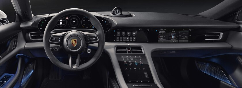 Porsche designers sought clean lines for a dashboard fitted with three to four touchscreens. Emphasis is not on automation, but on assisting an active, engaged driving experience.