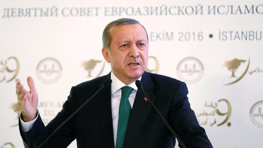 Turkish President Recep Tayyip Erdogan delivers a speech during the opening ceremony of 9th Eurasian Islamic Council in Istanbul on Tuesday.