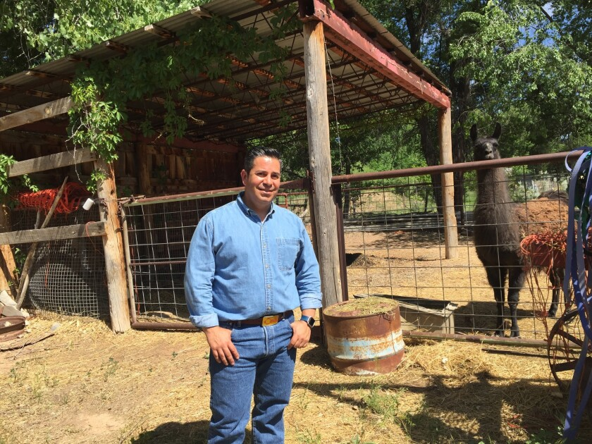 Rep. Ben Ray Lujan, the chairman of the Democratic Congressional Campaign Committee, at his family farm in New Mexico.