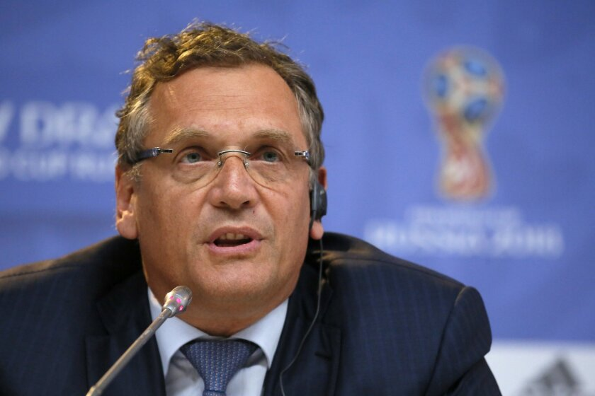 FILE - In this Friday, July 24, 2015 file photo, FIFA Secretary General Jerome Valcke attends a press conference near Constantine (Konstantinovsky) Palace in St. Petersburg, Russia, on the eve of the Preliminary draw for the 2018 World Cup in Russia. FIFA ethics committee bans former secretary gene