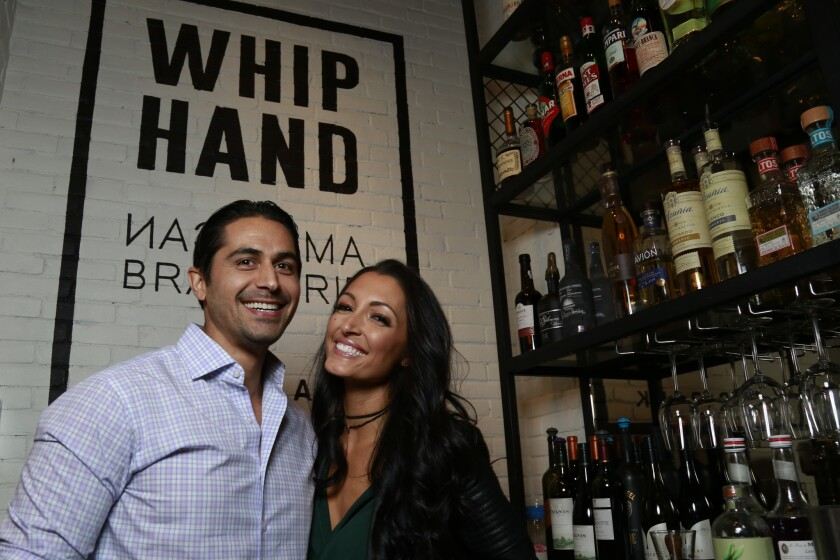 Blind Daters Omid and Ashley began their evening at WhipHand American Brasserie + Beer Bank.
