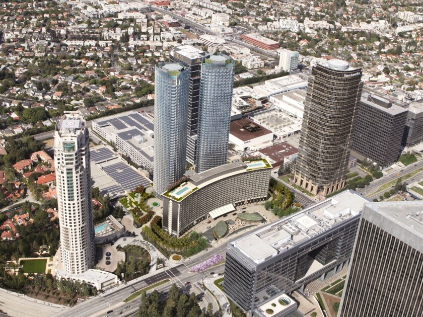 After a $2.5-billion overhaul, the Century Plaza Hotel will include two 46-story residential towers. Fairmont Hotels & Resorts will operate the hotel.