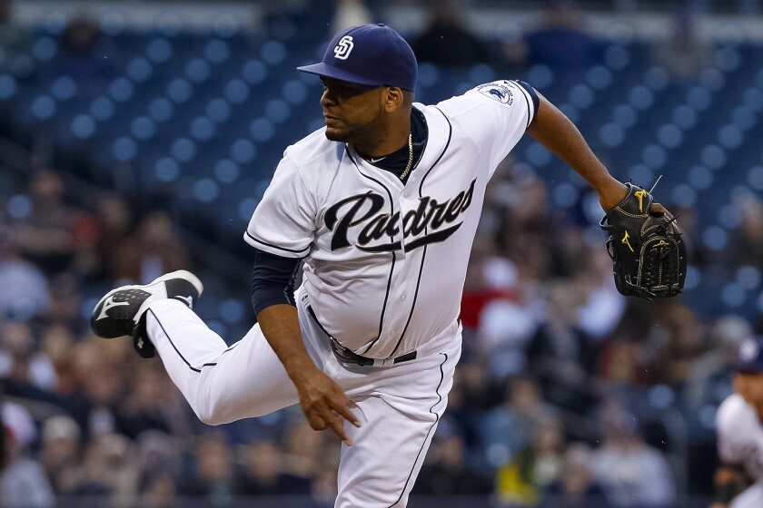 Padres Odrisamer Despaigne has a rough start in the 1st inning giving up 4 runs.