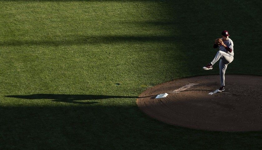 Mississippi State's Will Bednar starts against Texas during a baseball game in the College World Series, Sunday, June 20, 2021, at TD Ameritrade Park in Omaha, Neb. (Chris Machian/Omaha World-Herald via AP)