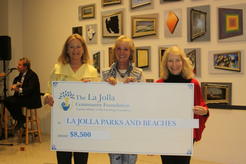 La Jolla Community Foundation grants chair Susan McClellan with La Jolla Parks & Beaches members Ann Dynes and Jane Reldan