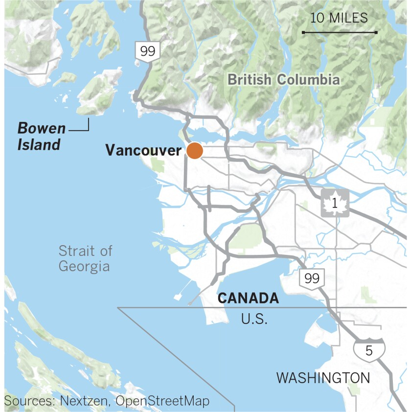 Map of Bowen Island, British Columbia, and Vancouver.