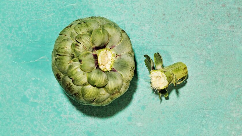 LOS ANGELES - THURSDAY, APRIL 25, 2019: Second in series of photos on how to peel an artichoke style