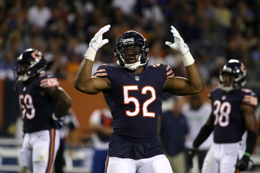 Chicago Bears pass-rusher Khalil Mack reacts during a game against the Seattle Seahawks in September 2018.