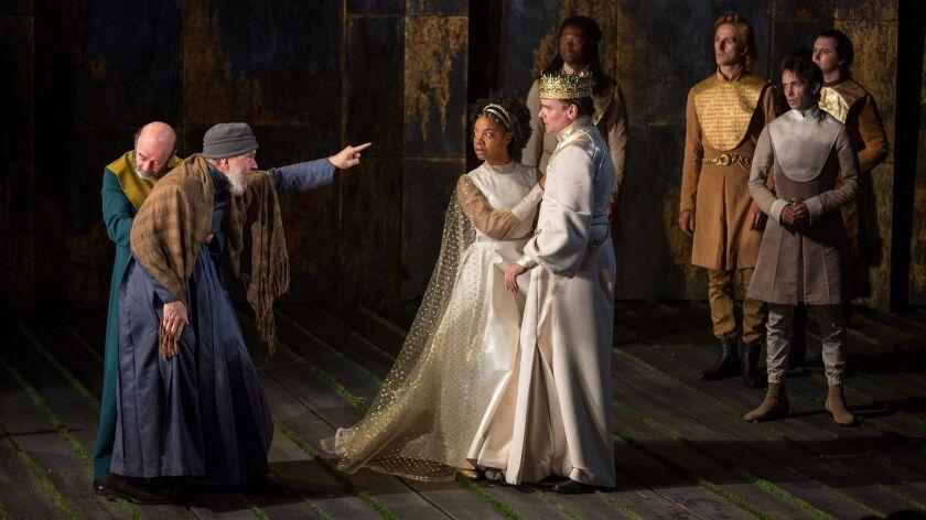 "John of Gaunt (Charles Janasz, pointing at left) admonishes Richard (Robert Sean Leonard), as Queen Isabel (Nora Carroll) looks on, in the Old Globe's ""King Richard II."""