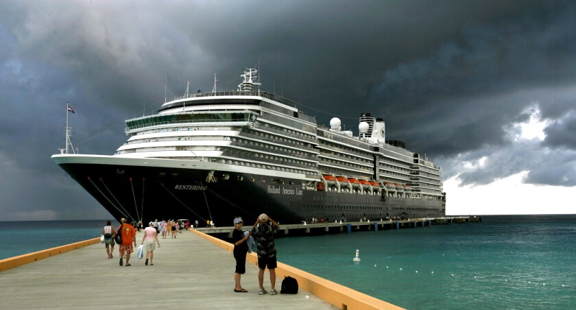Holland America's ship Westerdam docks in Grand Turk in Turks & Caicos during a Caribbean cruise.