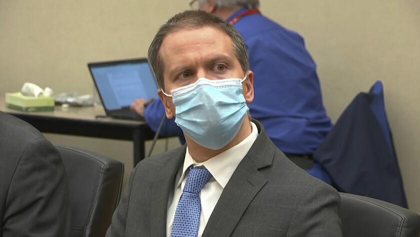 Derek Chauvin in a Minneapolis courtroom
