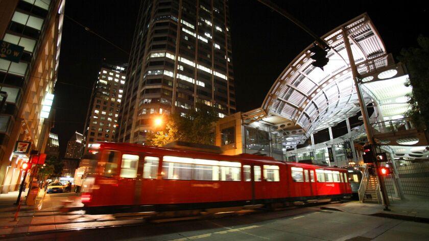A Blue Line trolley.