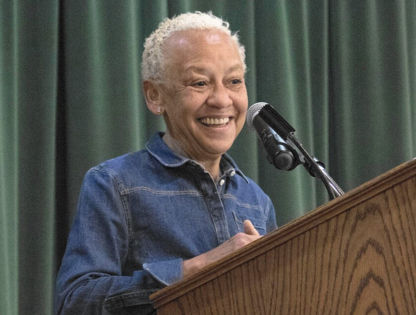 Poet, writer, educator and activist Nikki Giovanni delivers the closing address at a conference sponsored by the local chapter of the Women's National Book Assn. at Mount Saint Mary's University.