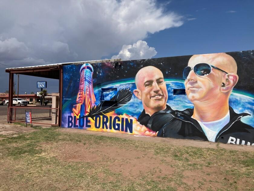 A mural of Blue Origin founder Jeff Bezos